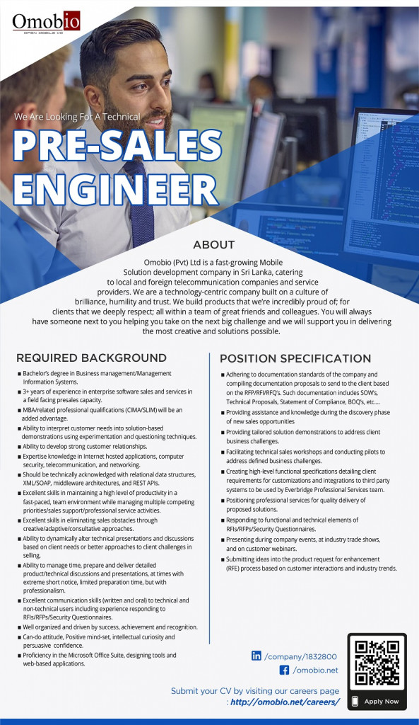 PRE-SALES ENGINEER job from Omobio (pvt) Ltd in Colombo, Sri Lanka