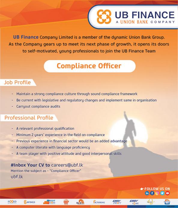 Compliance Officer job from UB Finance Co.Ltd  in Colombo, Sri Lanka