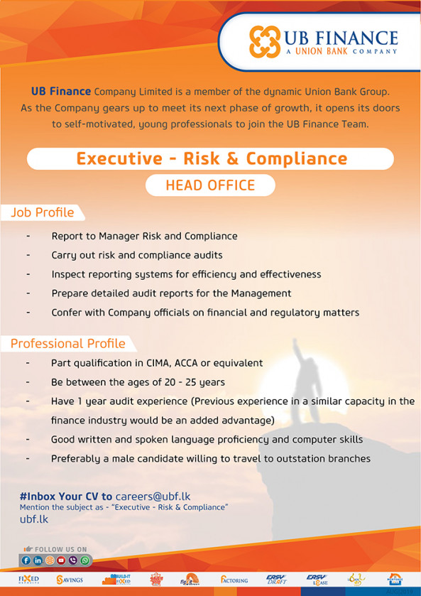 Executive - Risk and Compliance  job from UB Finance Co.Ltd  in Colombo, Sri Lanka