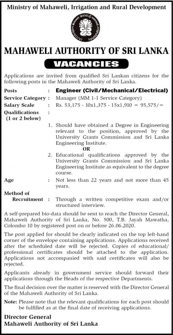 Civil Engineer job from Mahaweli Authority of Sri Lanka in Colombo, Sri Lanka