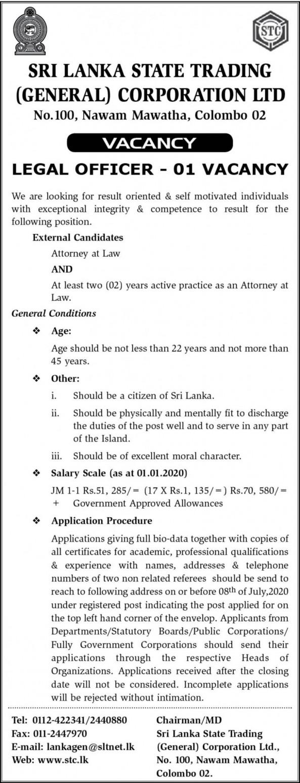 Legal Officer job from Sri Lanka State Trading Corporation  in Colombo, Sri Lanka