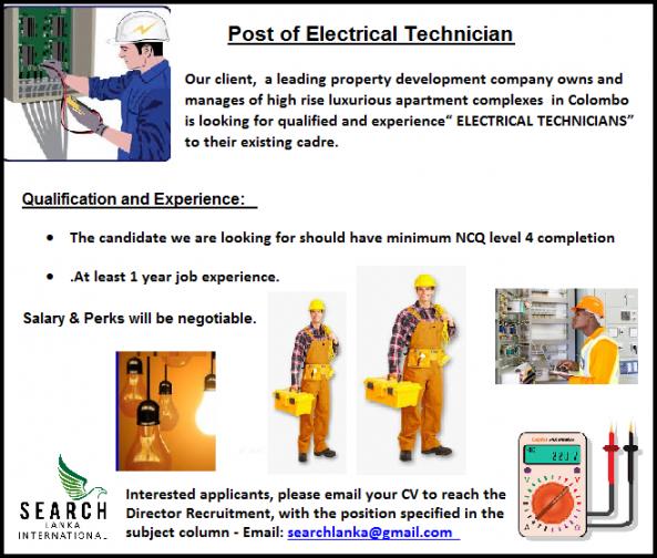 Post of Electrical Technician  job from Search Lanka International (pvt) Ltd in Colombo 1, Sri Lanka