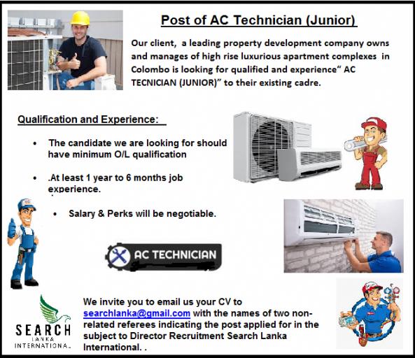 Post of AC Technician (Junior)  job from Search Lanka International (pvt) Ltd in Colombo 1, Sri Lanka