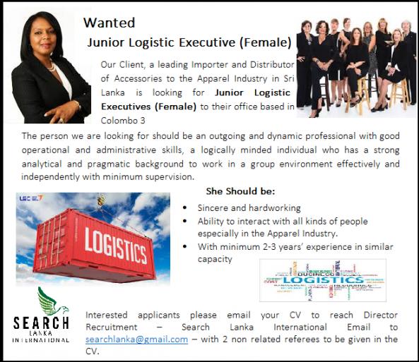 Wanted – Junior Logistics Executive (Female)  job from Search Lanka International (pvt) Ltd in Colombo 3, Sri Lanka