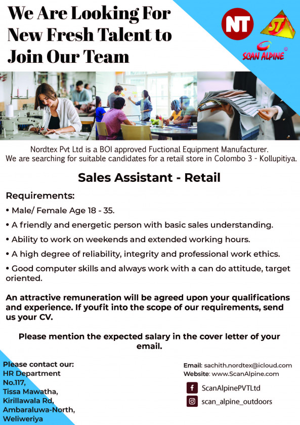 Show Room Assistant/ Sales Assistant job from SCANTEX PVT LTD in Colombo, Sri Lanka