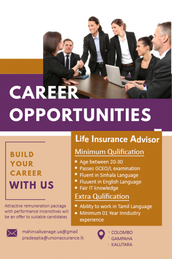 Life Insurance Advisor - Adopt Yourself to the New Norm job from Union Assurance - colombo 3 in Colombo 03, Sri Lanka