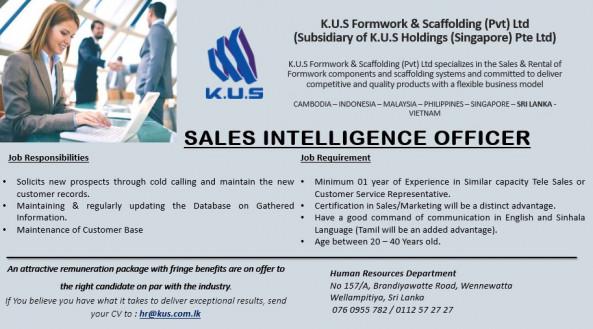 Sales Intelligence Officer job from K.U.S.Formwork & Scaffolding (Pvt) Ltd Sri Lanka (K.U.S Holdings-Singapore) in Wellampitiya, Sri Lanka