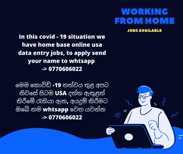 Data Entry Operator (Part time) - Home Base job from shakthi in srilanka anyone can join, Sri Lanka