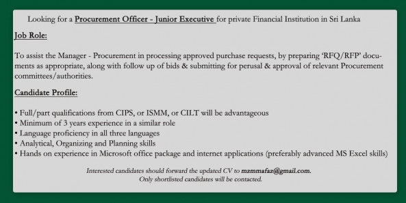 Procurement Officer - Junior Executive job from Amana Bank PLC in Colombo, Sri Lanka