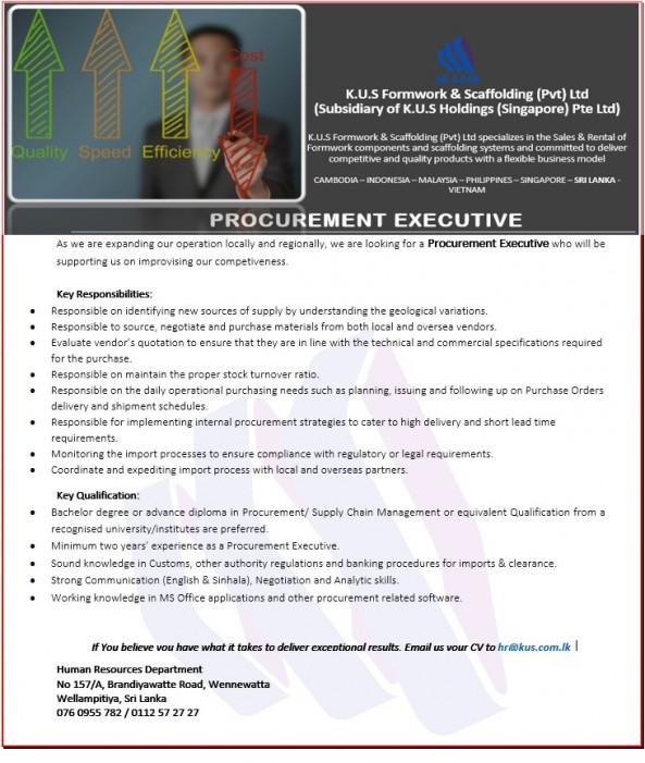 Procurement Executive job from K.U.S.Formwork & Scaffolding (Pvt) Ltd Sri Lanka (K.U.S Holdings-Singapore) in Wellampitiya, Sri Lanka